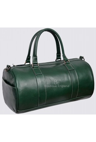 Men's Leather Weekend Bag Green Duffel Travel 100% Genuine Glaze Holdall 9098