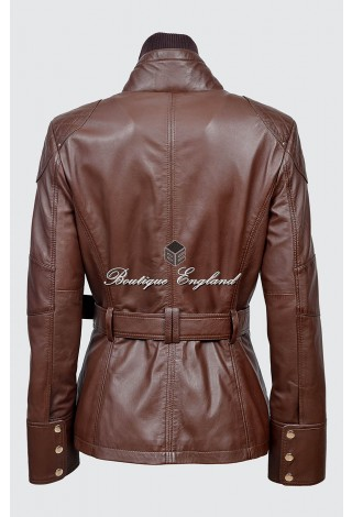 Ladies 9345 Brown Napa Slim Fit Soft Leather Jacket Casual Military Collar Rock