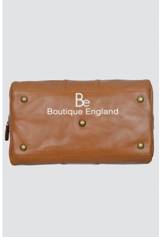 HOLDALL 9030 Tan Stylish Weekend Duffle Travel Gym Real Genuine Leather Bag
