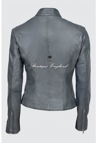 New 'SPEED' Ladies SR-01 Grey Retro Biker Style Fitted Motorcycle Leather Jacket