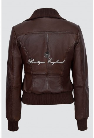 Ladies 232 Brown Napa Bomber Biker Real Fashion Trendy Deluxe Leather Jacket