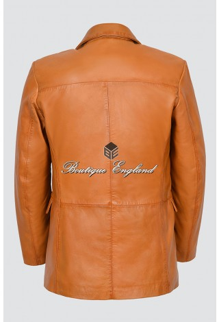 CLASSIC BLAZER Men's 865 TAN Tailored Soft Real Nappa Leather Jacket Coat