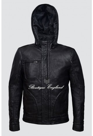 'GHOST PROTOCOL' Movies Inspired Men's Black Hooded WRINKLED Mission Impossible Leather Jacket 2052