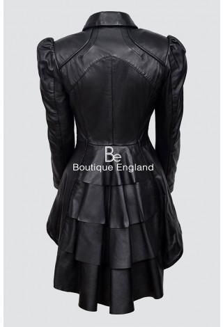 Ladies Gothic Dovetail Real Leather Tailcoat Black Slim Fit Fashion Jacket Coat 5003