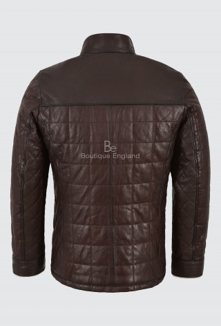 Men's Real Shearling Lined Brown Leather Jacket Vegetable Tanned Beige Fur 421