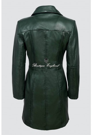 TRENCH Ladies 3457 Green Classic Knee-Length Designer Real Nappa Leather Jacket Coat