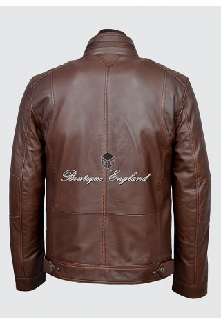 Men's Brown Antique Casual Style Vintage Soft Nappa Real Leather Jacket 1501