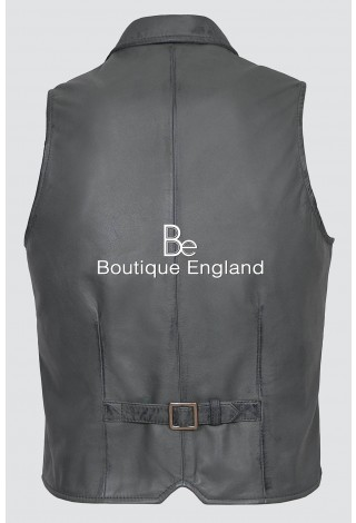 Men's Party 3530 Grey Fashion Classic Real Lambskin Napa Soft Leather Waistcoat