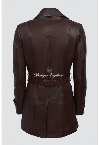 TRENCH Ladies 2218 BROWN Classic Mid-Length Designer Real Nappa Leather Jacket Coat
