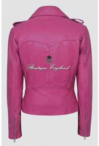 Ladies Kate 2 Pink Napa Biker Style Fitted Short Soft Italian Leather Jacket