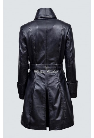 Ladies Black Real Soft Nappa Leather Jacket Coat Military Gothic 4845