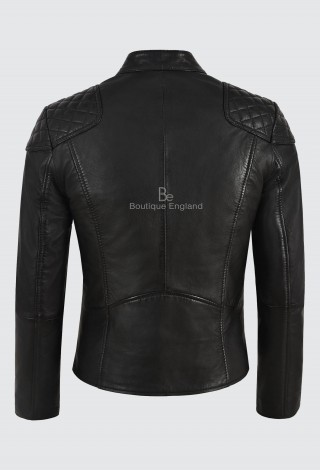 Ladies Cross Zip Black Leather Jacket Soft Napa Biker Motorcycle Style 1932