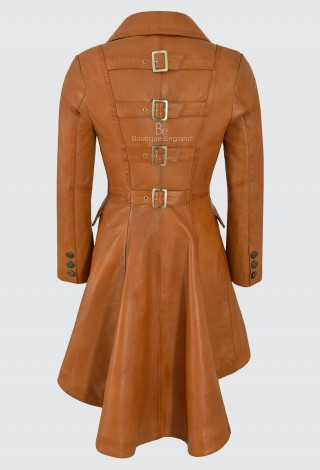 EDWARDIAN Ladies Real Leather Jacket Tan Lambskin Back Buckle Gothic Coat 3491