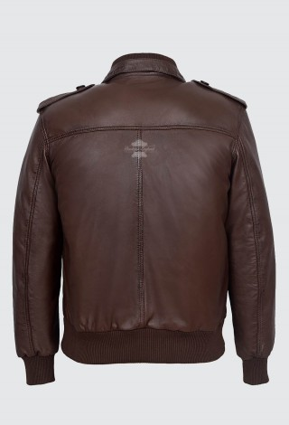 MEN LEATHER PILOT JACKET BROWN | AVIATOR CLASSIC BOMBER STYLE 100% LEATHER 6996