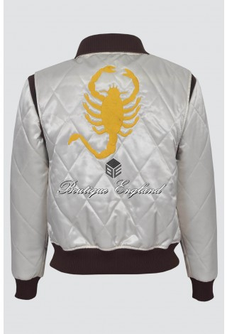 'DRIVE' GOLD 4011 Beige SCORPION Men's Satin Fitted RYAN GOSLING Film Movie Jacket