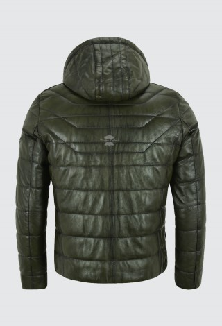 Men's Puffer Hooded Real Lambskin Olive Napa Leather Sport Jacket Fully Quilted 2006
