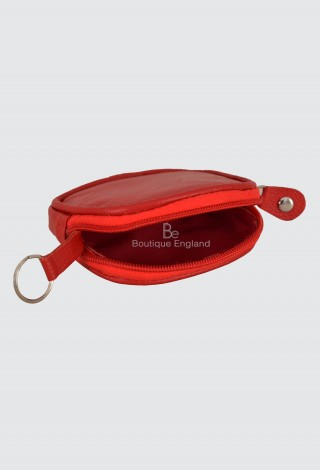 Unisex Zip Coin Purse Key Holder Small Soft Real Leather Red Pouch Wallet