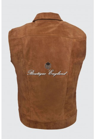 Men's Tan Suede Trucker Real Cow Leather Waistcoat Classic Western Style 1280