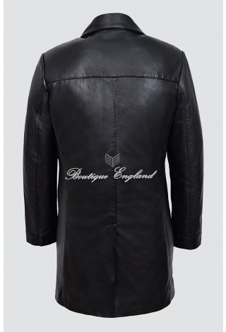 Men's 3476 Black with 4 Buttons CLASSIC BLAZER Knee Length Lambskin Leather Jacket