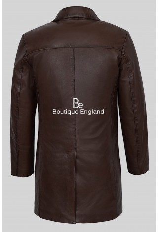 Men 4 Buttons CLASSIC BLAZER 3476 BROWN Knee Length Lambskin Leather Jacket