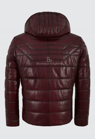 Men's Puffer Hooded Lambskin Leather Jacket Cherry Real Napa Fully Quilted 2006
