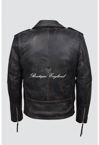 BRANDO SLIM FIT Men's SR-MBF BLACK RUB OFF Designer Real Lambskin Leather Biker Jacket