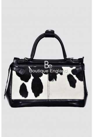 New Ladies Stylish Gladstone Black COW Printed Fur Real Cow Leather Hand Bag