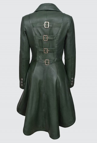 EDWARDIAN Ladies BACK BUCKLES Green WASHED Real Leather Jacket Coat Gothic 3491
