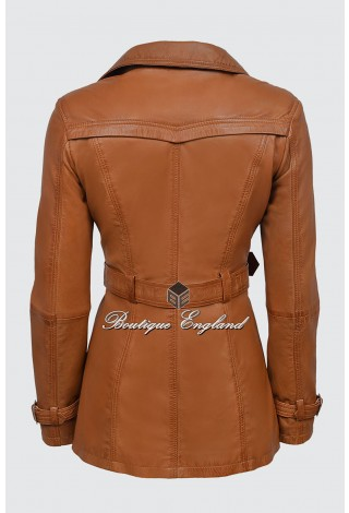 TRENCH Tan Ladies Classic Mid-Length Designer Real Nappa Leather Jacket Coat 1123