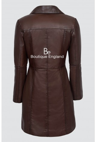 Elegant 3457 Brown Soft Leather Smart Comfort Neat Fit Trench Knee Length Jacket