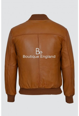'70'S RETRO BOMBER' Men's 275-Z Tan Cool Classic Soft Italian Nappa Leather Jacket