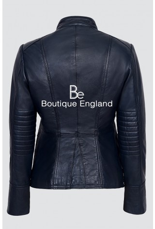 'VICTORY' Ladies Navy Blue Military Parade Style Soft Real Nappa Leather Jacket 8976