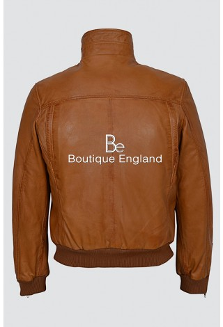 'TORNADO' Men's 9265 TAN Vintage Washed Fitted Cool Funky Short Bomber Leather Jacket