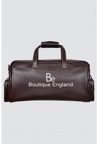 9225 BROWN Beige Stripe Large Holdall Duffle Travel Gym Real Leather Bag