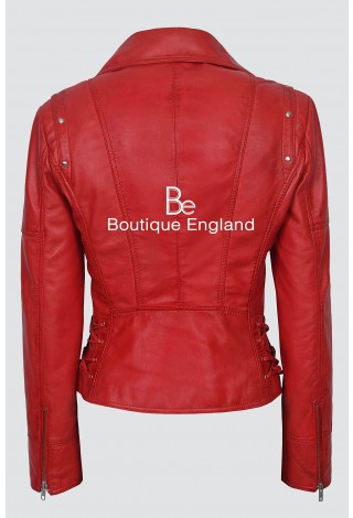 Ladies LACED 9824 RED Biker Style Motorcycle Soft Napa Italian Leather Jacket