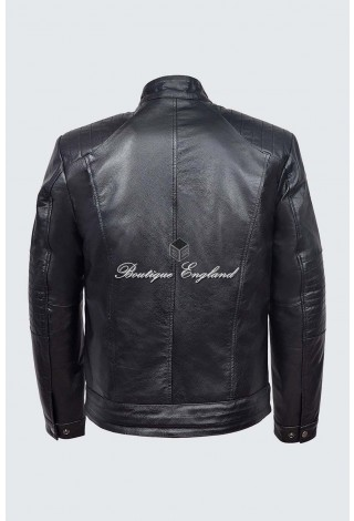 Men's Fielder Black Cowhide Cool Retro Biker Style Motorcycle Leather Jacket