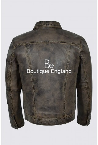 John Lennon The Beatles Rubber Soul Mens Classic Dirty Brown Real Leather Jacket 1280
