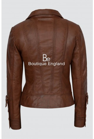New SUPERMODEL Ladies 4110 Chestnut Brown Rock Biker Style Designer Real Nappa Leather Jacket