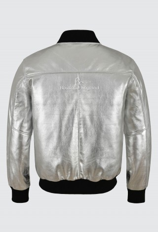 Men's Real Leather Bomber Jacket Silver Napa Street Inspired Biker Style 275-Z