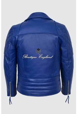 Men's ROYAL BLUE Biker Style Motorcycle Real Cowhide Leather Jacket 233