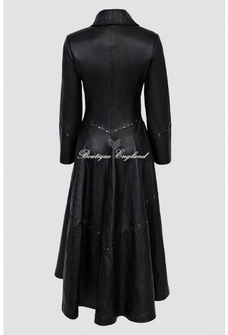 Women New Rock Black Studded Full Length Gothic Real Leather Damask Steam Punk Regency Trench Coat