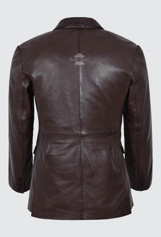 MEN'S LEATHER BLAZER BROWN FORMAL CLASSIC TAILORED SOFT GENUINE LEATHER 9124