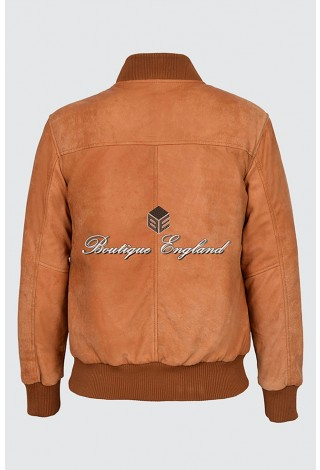 Men's Tan Buff Classic Vintage Look Retro Full Rugged Character Leather Jacket. 275