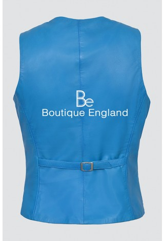 New Ladies 5701 Electric Blue Party Waistcoat Cool Style Soft Lambskin Leather