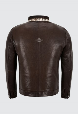 Men's Brown Cow Hair on Hide With Crocodile Print Front Real Leather Napa Jacket 465
