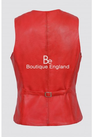 Ladies Red Party Waistcoat Cool Style Fashion Soft Lambskin Leather 5701