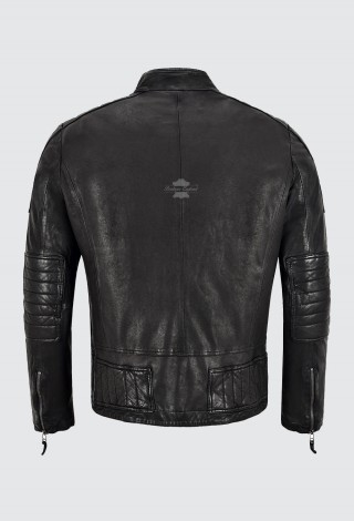 Men's Vintage Washed Effect Leather Jacket Black Veg Tanned Soft Leather Jacket SMR-05