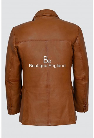 CLASSIC BLAZER Men's 4080 TAN Tailored Soft Real Nappa Leather Jacket Coat