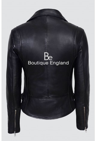 Deluxe Ladies 2100 Black Biker Slim fit Real Lamb Leather Stylish Fashion Jacket