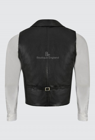 Men's Real Leather Waistcoat Black Napa With White Trimming Steampunk Style 3281-B